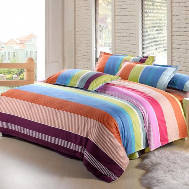 Simple Style Comfortable Cotton Blend Stripe Pattern Comforter Bedding Sets Reversible Design Duvet Quilt Pillowcase Cover