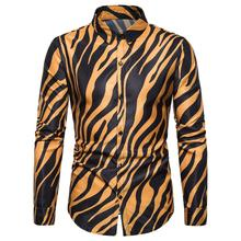 Long Sleeve Hip hop Zebra Print Social Shirt Mens Clothing Slim fit for Men Summer Blouse Male New