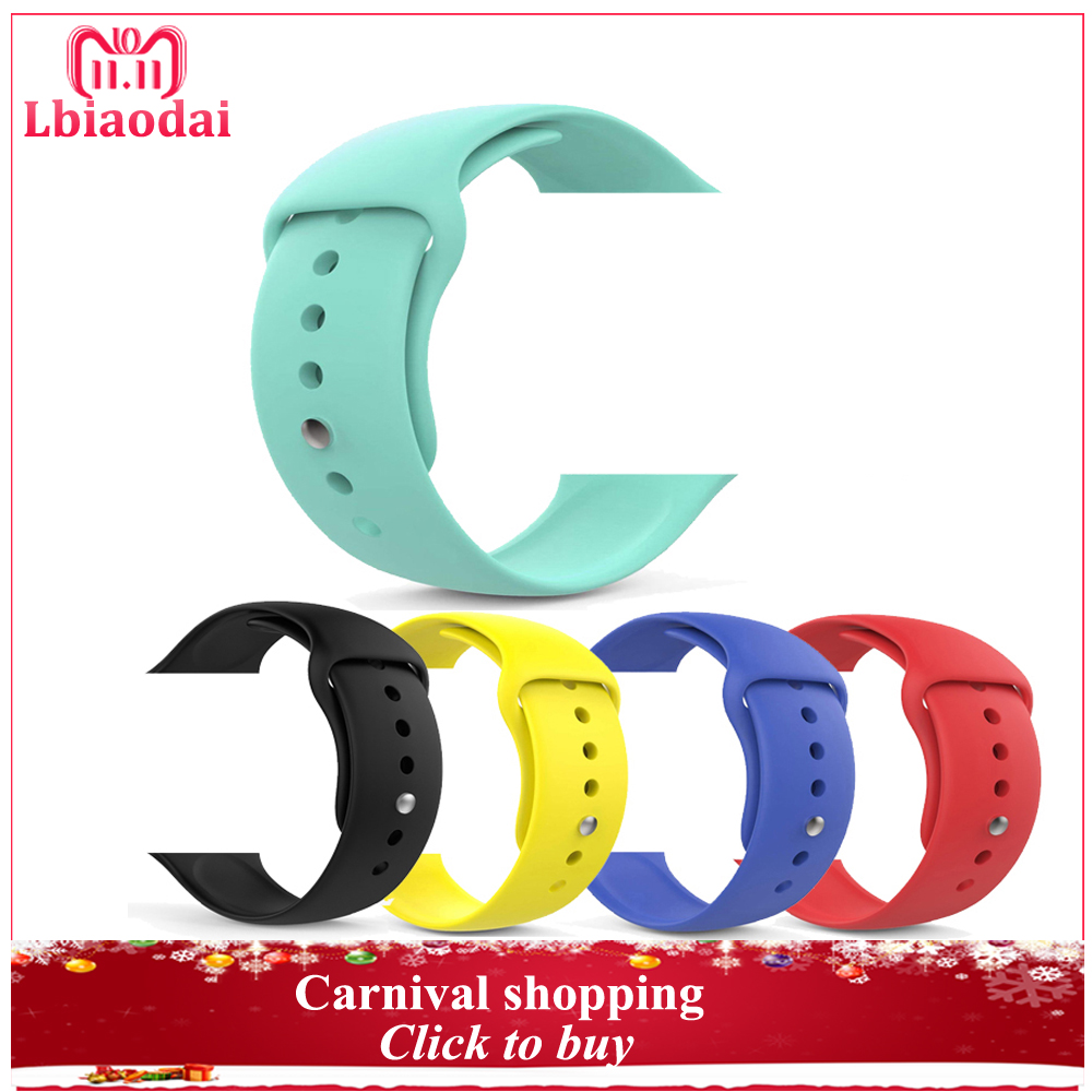 Sport silicone watchband strap For Apple Watch band 42mm 38mm 44mm 40mm correas iwatch Series 4/3/2/1 cinturino bracelet Rubber 20 colors sport band for apple watch band 44mm 40mm 38mm 42mm replacement watch strap for iwatch bands series 4 3 2 1