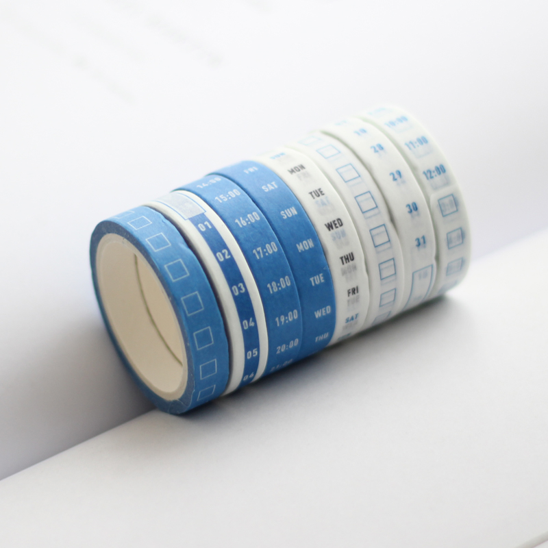 4 Rolls Monthly Weekly Date Calendar Base Decoration Washi Tape DIY Scrapbooking Sticker Label Masking Tape Escolar