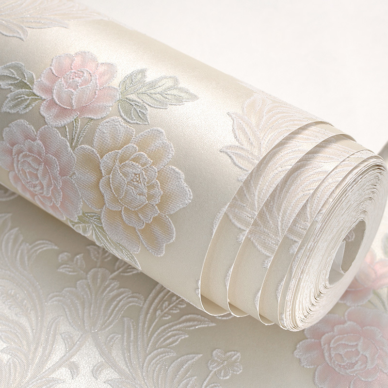 ФОТО European Style Living Room Wallpaper 3d Embossed Flowers Wallpaper Pvc Children Room Purple Flower Wallpaper For Walls Roll