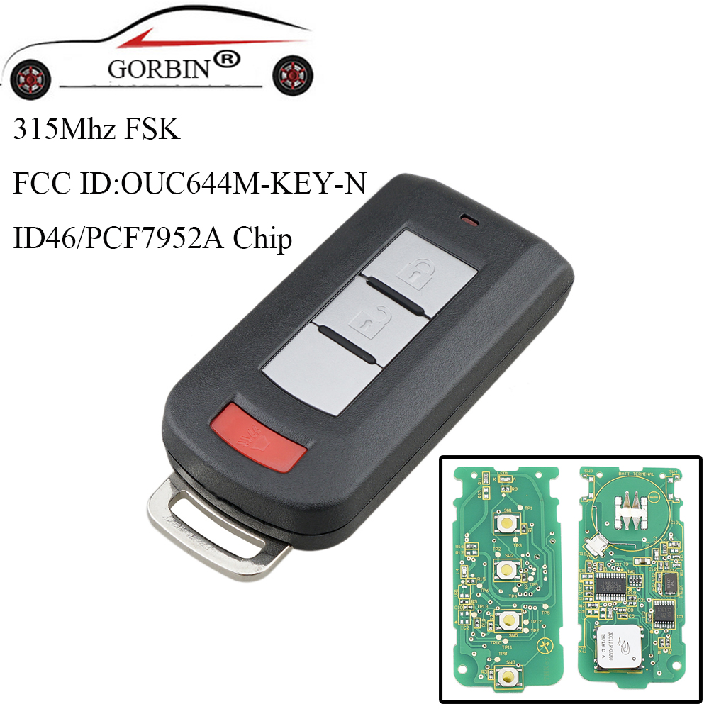 GORBIN 3Buttons Smart Remote Key Keyless Fob PCF7952 Chip 315Mhz For Mitsubishi Lancer Outlander Galant 2008