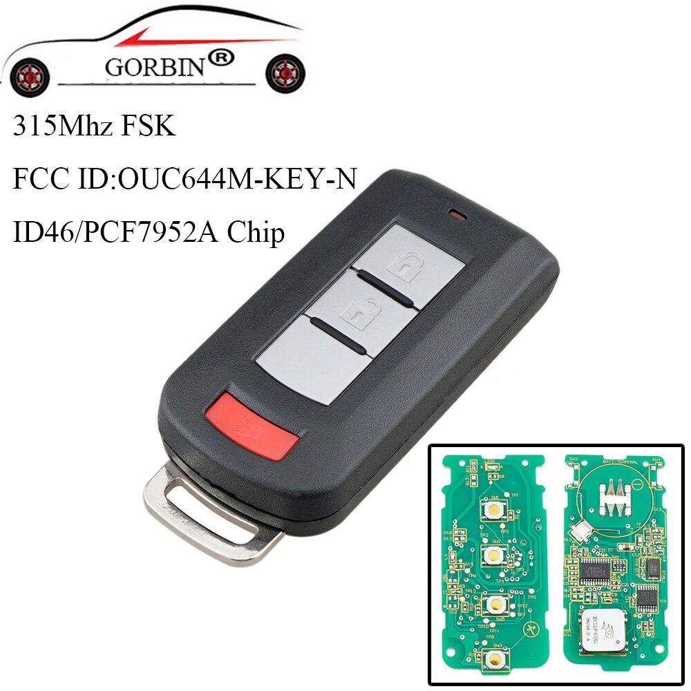 GORBIN 3 boutons Smart télécommande clé sans clé Fob PCF7952 puce 315 Mhz pour Mitsubishi Lancer Outlander Galant 2008-2017 clés de voiture