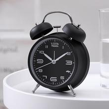 Yfashion   4-inch metal double-bell alarm clock with night light to ring at the bedside 4 5 inch double bell alarm clocks metal silent sweep loud alarm kids table clock 4 5 inch bell night light large number alarm cloc
