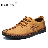 Retro Handmade Leather Shoes Men 2017 New Arrival Casual Genuine Leather Oxfords Chaussure Homme Soft Comfort