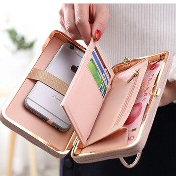 Bogen Element Frauen Brieftaschen Mit Handy Tasche Karte Halter Matte Leder Weibliche Geldbörse Armband Damen Brieftasche Kupplung Handtasche