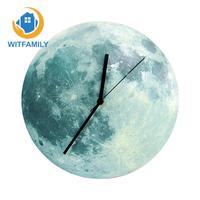 3D Fluorescent Wall Clocks kids Living Room Glowing Moon Luminous Waterproof DIY Clock Wall Halloween Gift Clock Wall Stickers