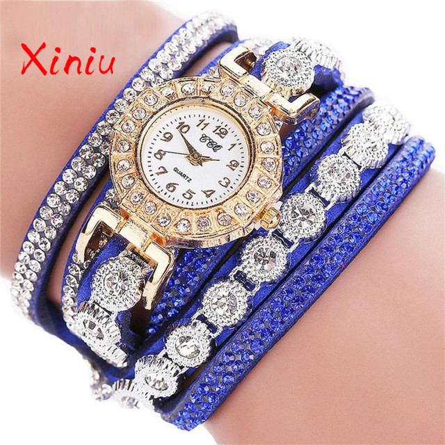 Watch Female Wrist 2018 Horloges Vrouwen Ladies Watch Rhinestone Pu Leather Analog Quartz Luxury Fashion Clock