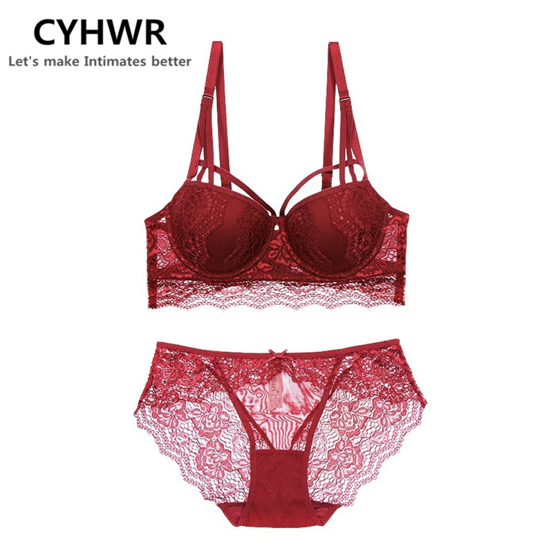CYHWR new arrive sexy women soft lace on the thin under the thick comfortable push up underwear   bra     set