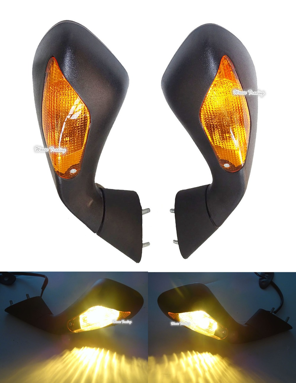 Здесь продается  Motorcycle Rear View Mirrors w/ Turn Signals Blinker Indicator Led Light Amber Lens For 2012 2013 2014 2015 MV Agusta F3 675 800  Автомобили и Мотоциклы