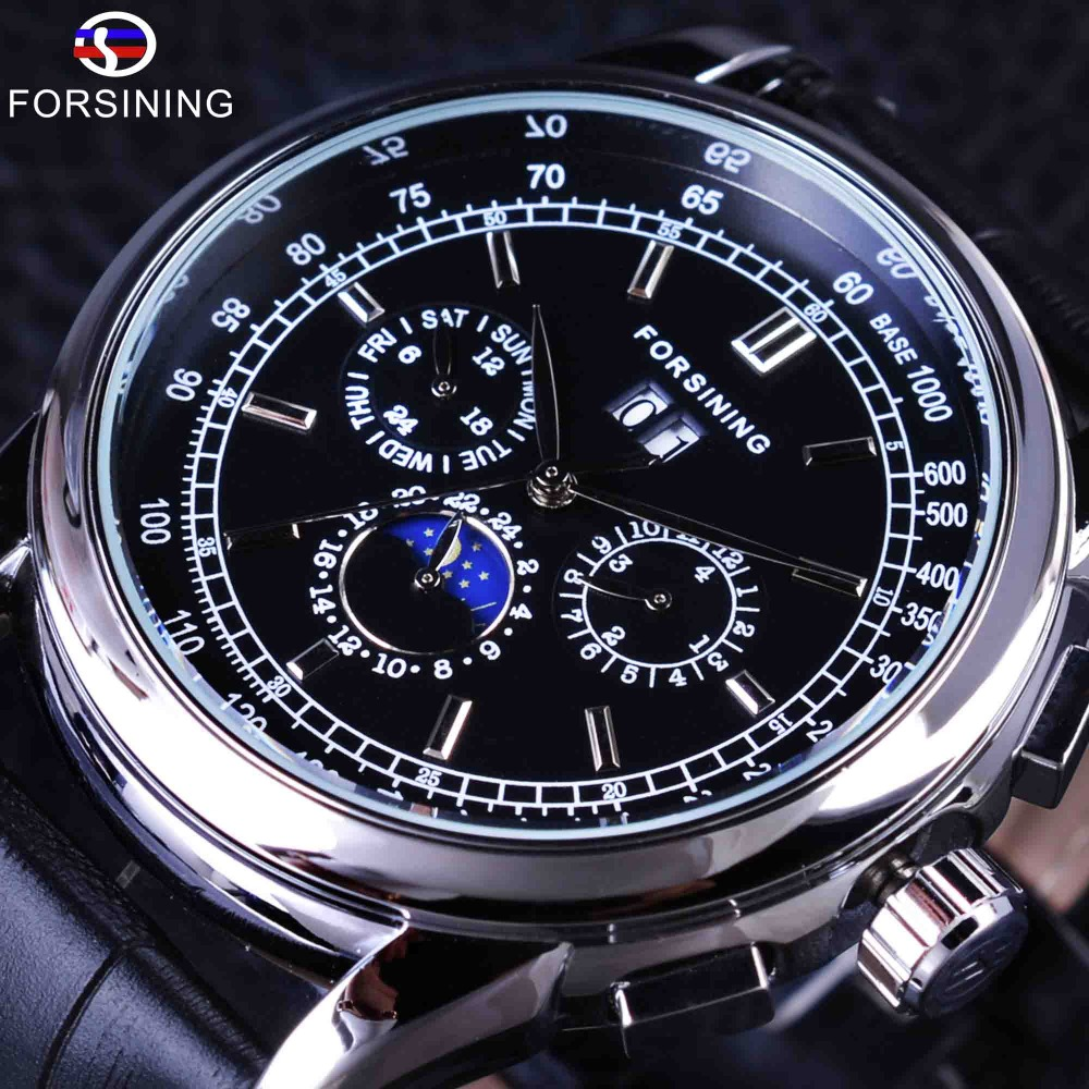 Forsining Luxury Moon Phase Design Genuine Leather Fashion Casual Wearing Scale Dial Mens Watch Top Brand Luxury Automatic Watch комплект рубашка и футболка piazza italia piazza italia pi022ebwqj39