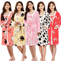 Flanela inverno Robe Menina & Women Linda Conjuntos de Vestes Roupões de Banho Feminino Espessamento da Longo-Luva Vestido Casa Sleepwear Casuais
