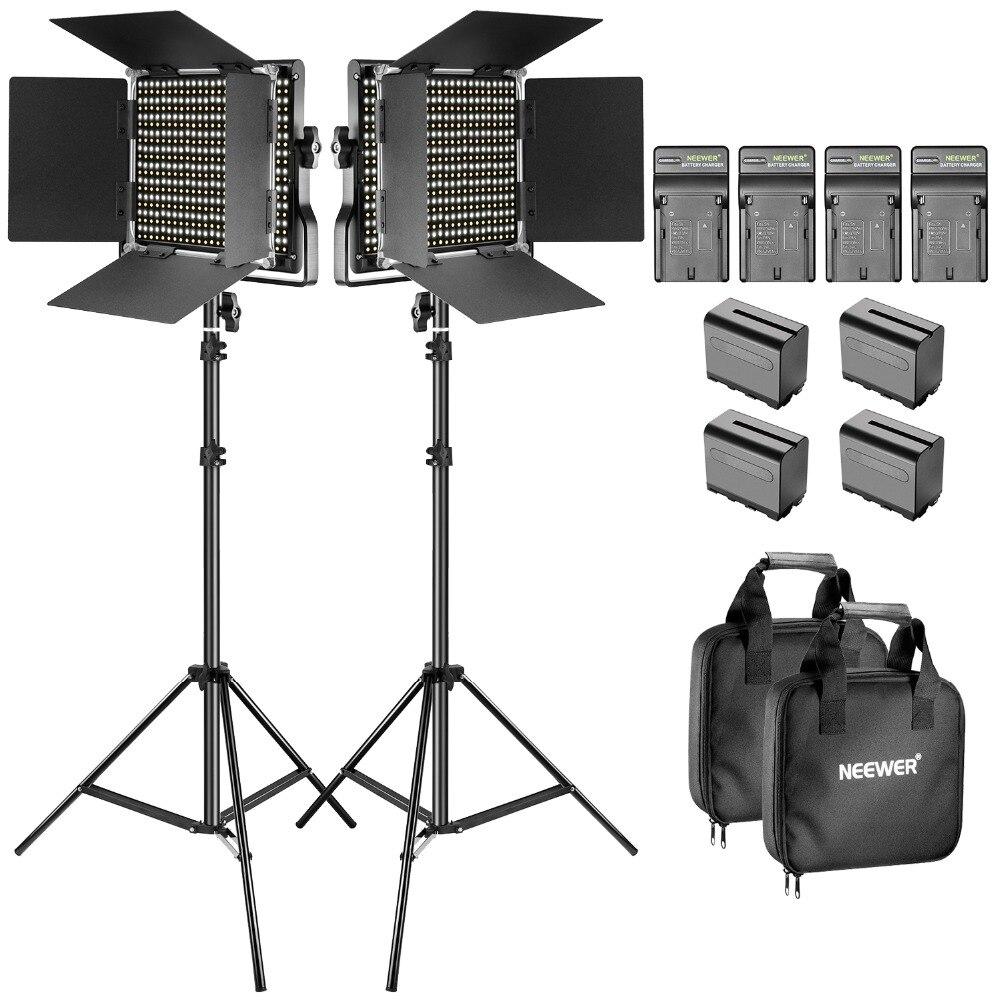 Neewer Bi-color LED Luz de Vídeo e Suporte Kit com Bateria e Carregador-Regulável 660 LED com U suporte e Barndoor (3200-5600 K)