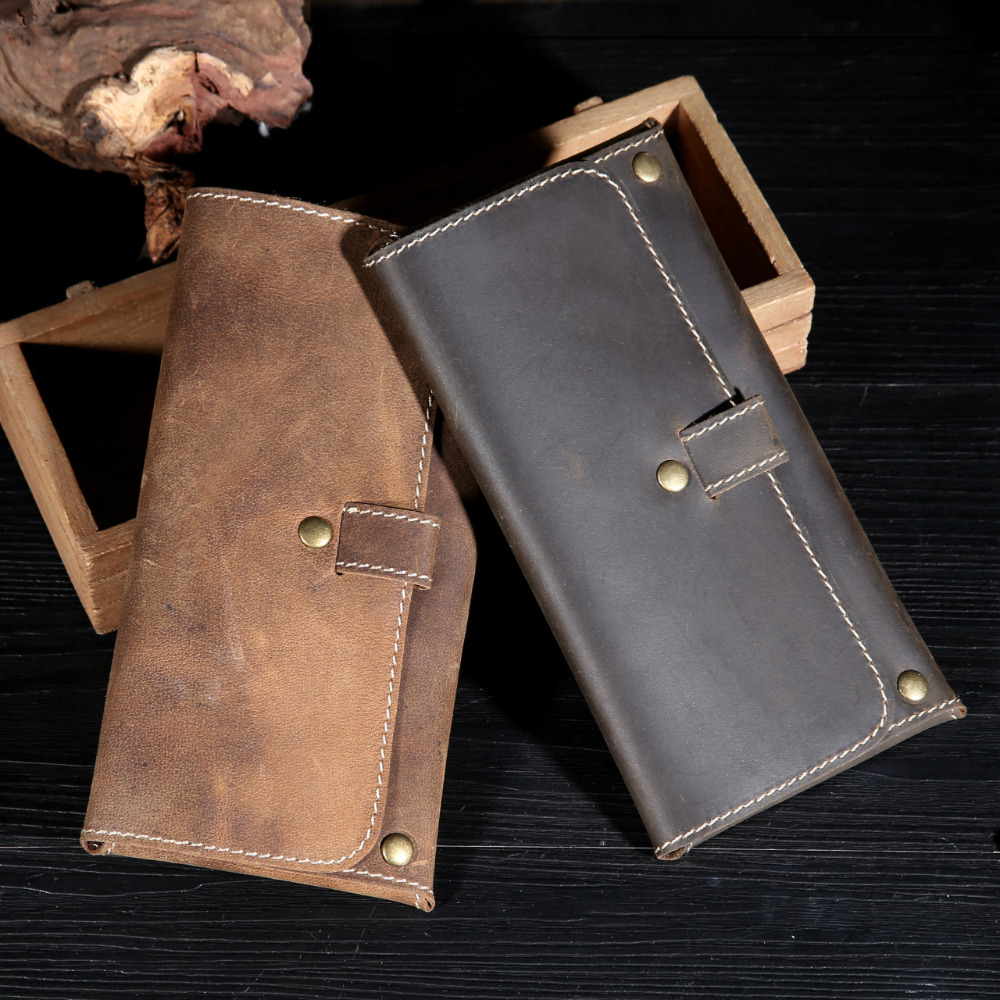 High Quality Handmade Crazy-Horse Leather Vintage Genuine Leather Wallet Case For Samsung S8 Leather Pouch For iPhone5 6 7 Plus