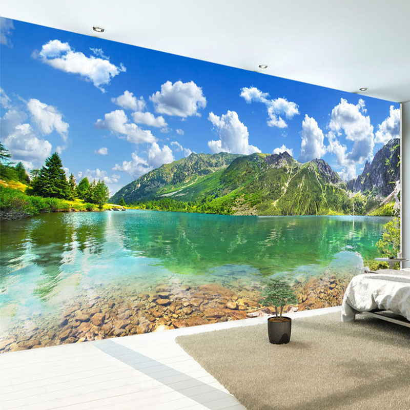 Forest Lake Fabric Home: Custom Any Size Murals Wallpaper Modern Nature Landscape