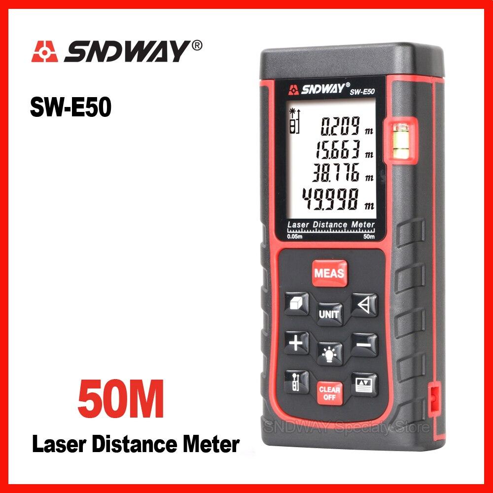 Sndway Genuino SW-E50 Palmare telemetro laser range finder misuratore di distanza metro a nastro roulette trena 50 m righello strumento