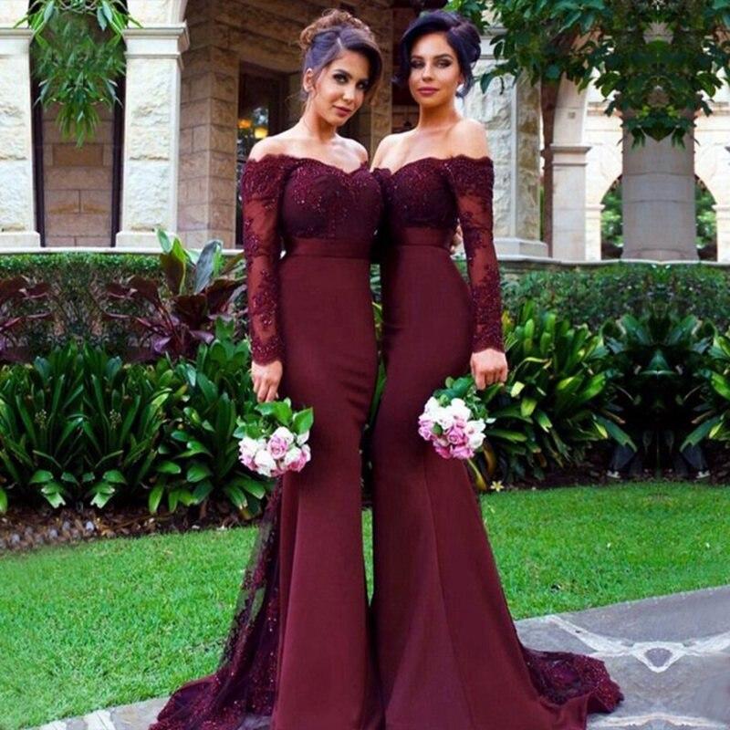 Long Burgundy   Bridesmaid     Dresses   2019 Elegant Mermaid Sheer Long Sleeve Beaded Applique Arabic Women Bridemaid   Dress   Party