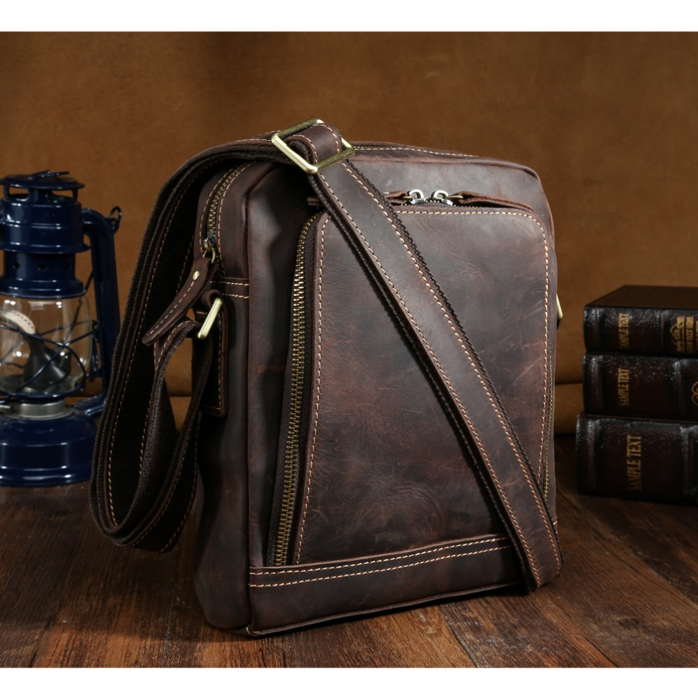 Luxury Top Quality Mens Genuine Handmade Leather Messenger Bag Vintage Cross  Body Shoulder Bag for IPad Small Satchel Bag Brown f25ab2abba809