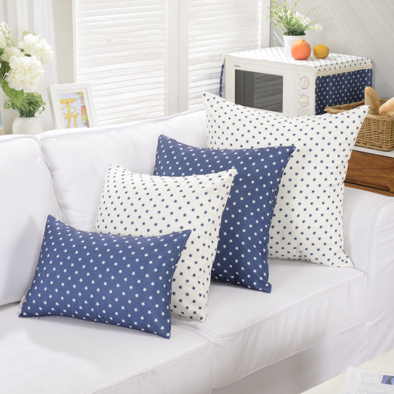 1 Piece Blue Star Decorative Throw Pillows Cushions Without Inner Polyester  Cotton Sofa Seat Outdoor Big Size 65x65cm.