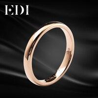 EDI простой 3 мм гладкое Золотое кольцо блестящее Настоящее розовое золото 18 К Гладкий мужской и женский тонкий браслет в Подарок на годовщин