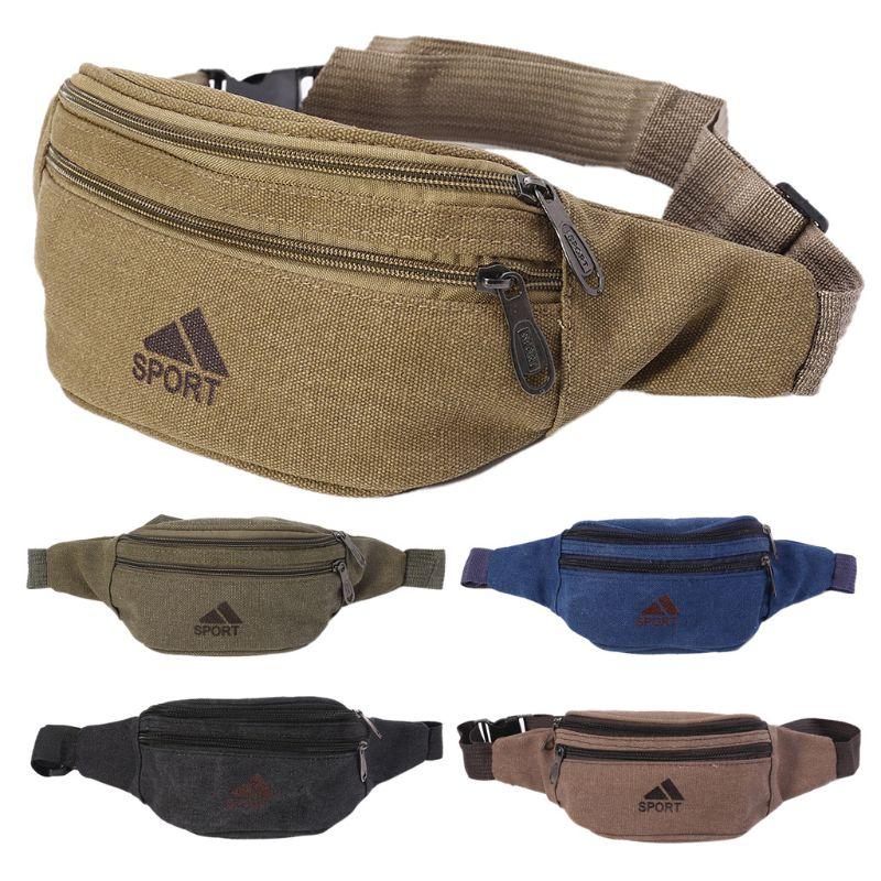 2020 Men Casual Durable Fanny Waist Pack Waist Bags Belt Canvas Hip Bum Military Bag Pouch Three Zipper Pockets