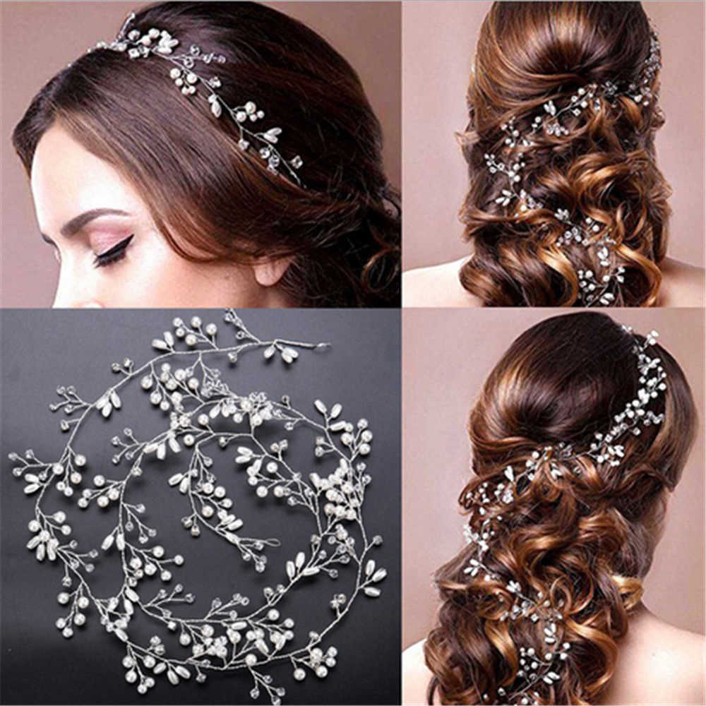 fashion 35cm silver crystal pearl headband jewelry wedding bridal hairband hair accessories europe style headwear handmade495