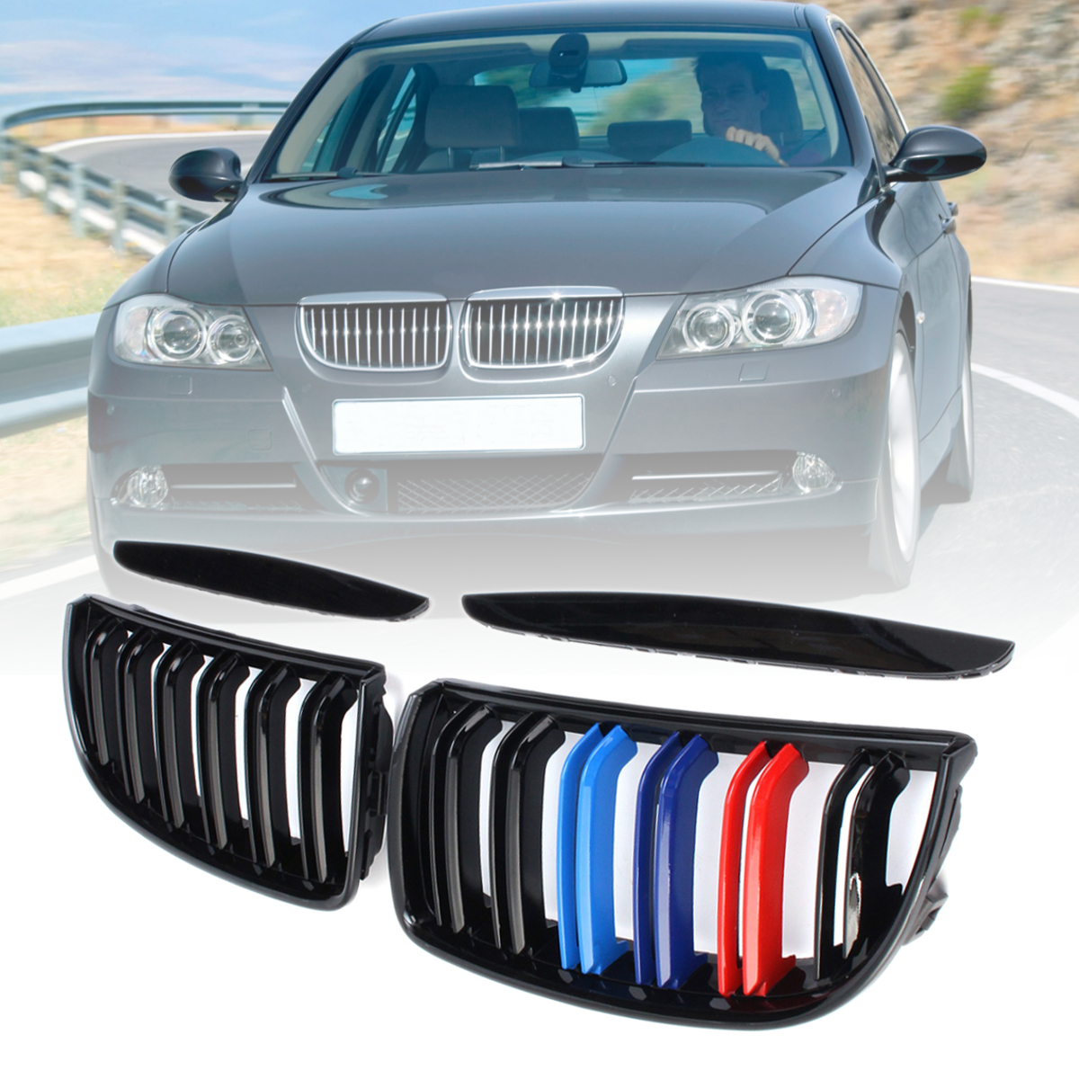 For BMW E90 E91 3 Series 2004 2005 2006 2007 1 Pair Gloss Matt Black M Color 2 Slat Line Front Kidney Grille Grill Double Slat pair gloss matt black m color 2 line front kidney grille grill double slat for bmw e90 e91 3 series 2004 2005 2006 2007