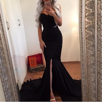 Kisscc Sexy Strapless Red Maxi Dress Split Front Long Floor Length Trumpet Mermaid Dress Sleeveless Elegant