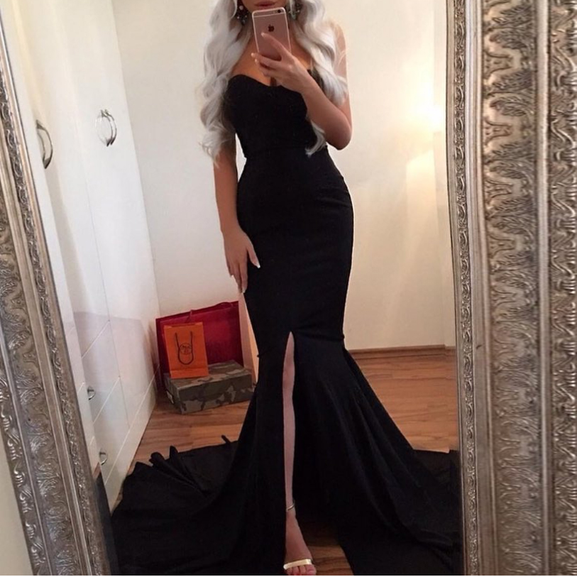 Kisscc Sexy Strapless Red Maxi Dress Split Front Long Floor Length Trumpet Mermaid Dress Sleeveless Elegant Party Dress