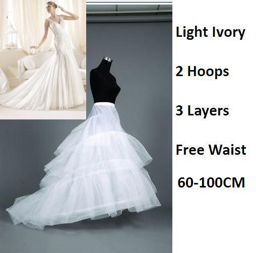 Supernova Sale Light Ivory Plus Size Long Bridal Wedding Accessories 2 Hoop 3 Layers Tulle Train Petticoat Underskirt