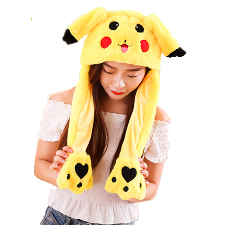 Pikachu white Cartoon Animal Plush Dynamic Hat Children's Winter Warm Cap Combined Scarf and Glove