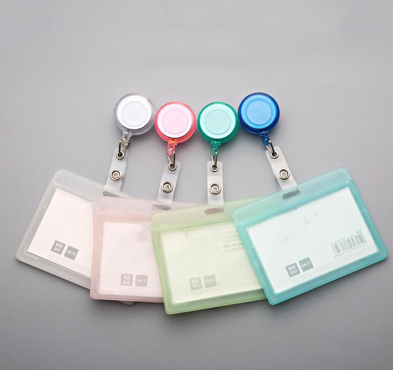 Plastic Retractable Transparent Badge Holder Elastic Clip Badge Reel Card Case Name Tag Work Badge With Badge Reel
