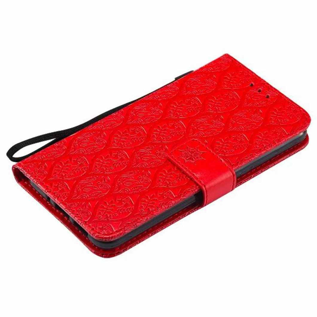 MuTouNiao Red Rattan Leather Flip Case Cover For Huawei P8 P9 P10 P20 Lite GR3 Mini Pro Lite Plus 2017