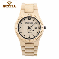 BEWELL Wood Watch Men S Quartz Wristwatch Date Display Carved Jagged Dial FIitness Winder Saat Watches