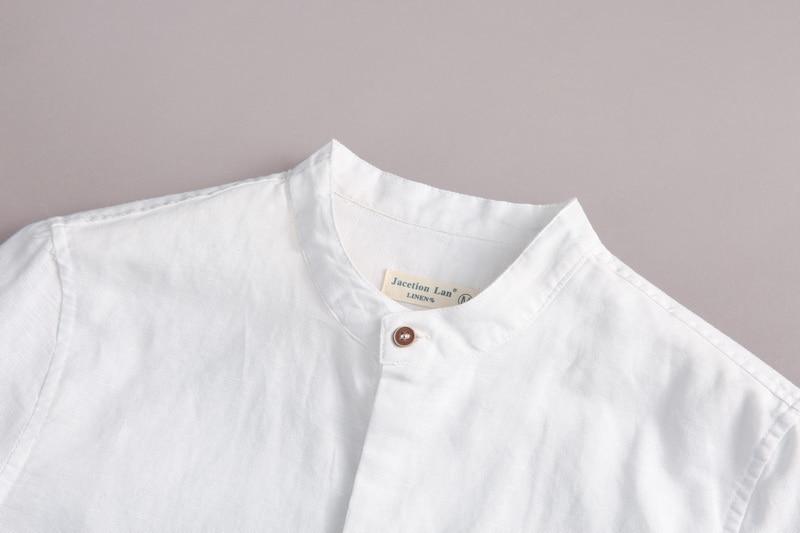 2017 Naturlig langærmet shirt mænd linned hvid stativ krave casual - Herretøj - Foto 3