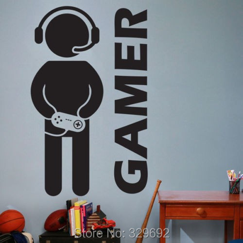 Envío gratis Gaming Gamer Joystick tatuajes de pared arte Home Decor Wall Sticke
