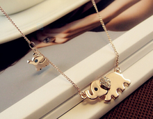 Cute Elephant Family Stroll Design Fashion Women Charming Crystal Chain font b Necklace b font Chocker