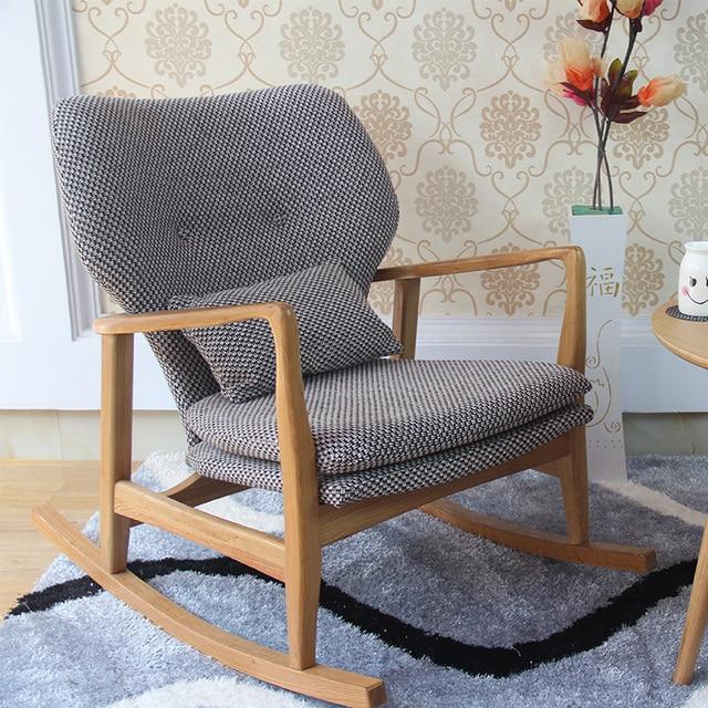 Nordic Wood Single Rocking Chair Recliner Chair IKEA Sofa Cloth Leisure Nap  Outdoor Terrace Chair Coffee Chair