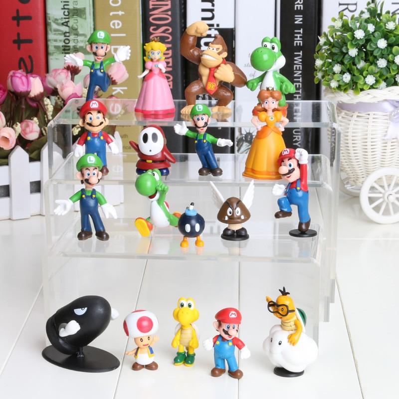 Super Mario Bros - Mario, Luigi, Princess Peach, Yoshi, Donkey Kong, Shy Guy 18pcs/set Action figures (3-7cm)
