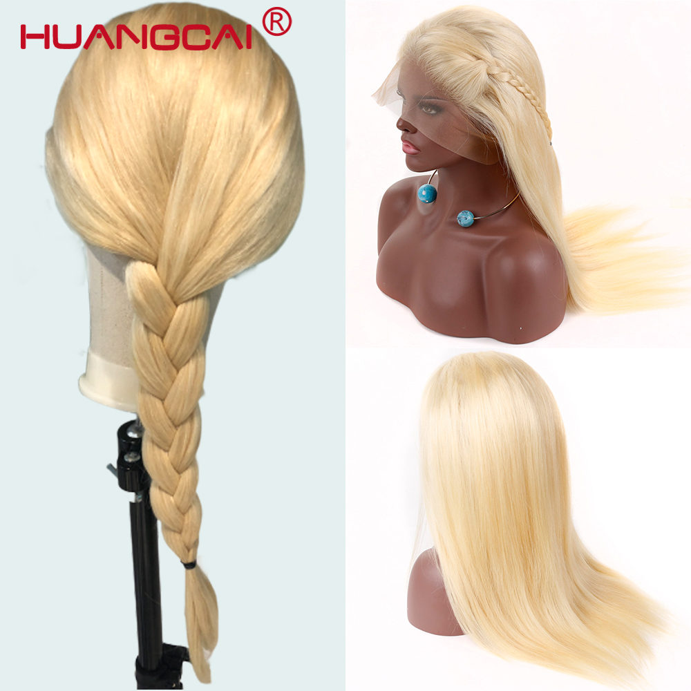 613 Blonde Full Lace Human Hair Wig 150% Peruvian Straight Glueless 613 Full Lace Wigs Pre Plucked With Baby Hair Remy Lace Wig