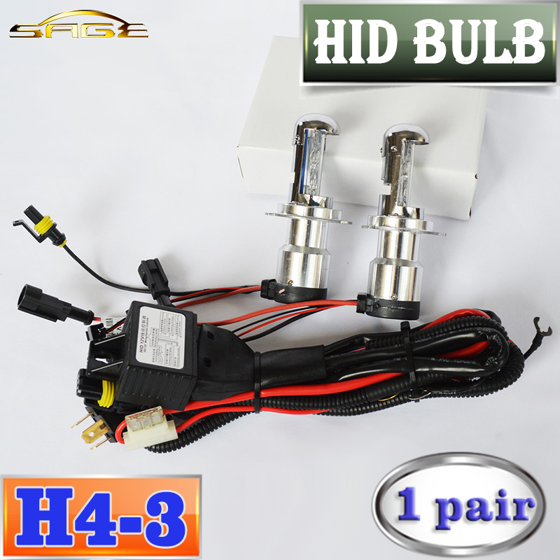flytop 2 Pieces H4-3 HID XENON Lamp AC Auto Bulb Car Headlight Telescopic Hi/Lo Beam Bi-XENON 12V 35W 4300K 6000K 8000K купить