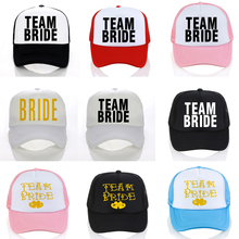 BRIDE TO BE TEAM Bachelorette Baseball caps Women Wedding Preparewear Trucker Caps White Neon Summer Mesh cap team bride