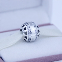 Convient Pandora Bracelet Coeur charme 100% 925 en argent sterling avec zircon perles charmes DIY bijoux en gros chaude