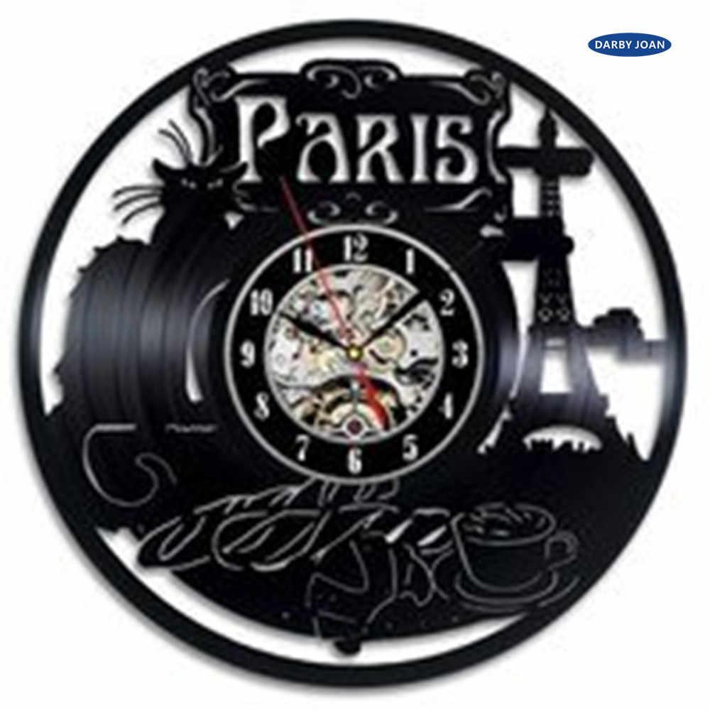 Reloj de pared de vinilo con tema de la ciudad de París