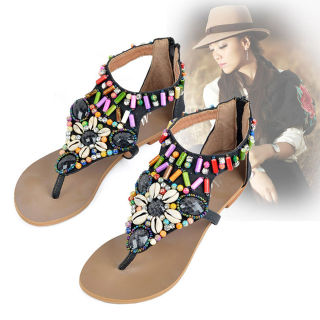 164b4564c 2018 Summer Comfortable Bohemia Flats Women Sandals Beachwear Vintage  Rhinestone Shell Woman Flip Flops Female Retro Shoes