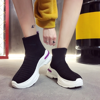 COOTELILI Spring Autumn Sneakers Women Flat Platform Casual Shoes Woman Ankle Boots Slip on Breathable Women Shoes