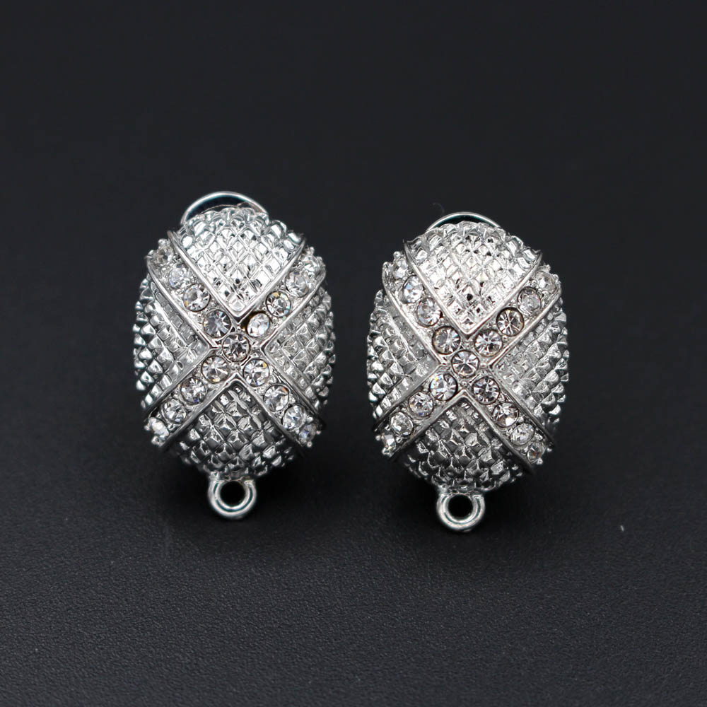 Loop Hanger Us 12 59 55 Off Stud Clip Earrings Post Oval Base With Loop Hanger Paved Cz Diy Findings Accessories Dubai Indonesian Wedding Jewelry Making In
