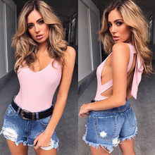 Solid 6 colors backless bodysuit women 2017 fitness slim pink jumpsuits bodysuits lady sexy hot bodycon overalls clothes