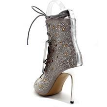 Cross-tied Shoes Woman High Heels Peep Toe Summer Boots Solid Motorcycle Boots Lace-up Ankle Boots Thin Heels Size 43