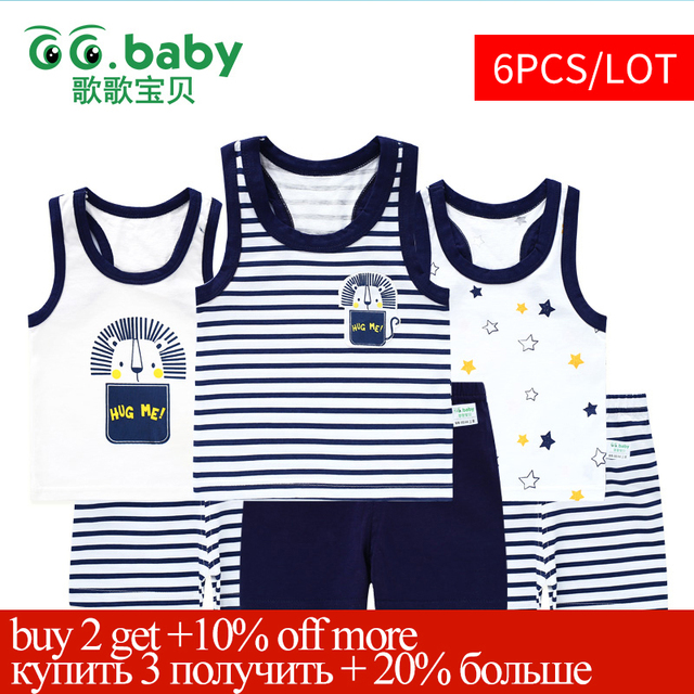 3sets/lot Baby Clothes Set Sleeveless Summer Baby Short Sets Boy Clothing Kids Outfit Children Girls Suit Girl Suits Boy Outfits